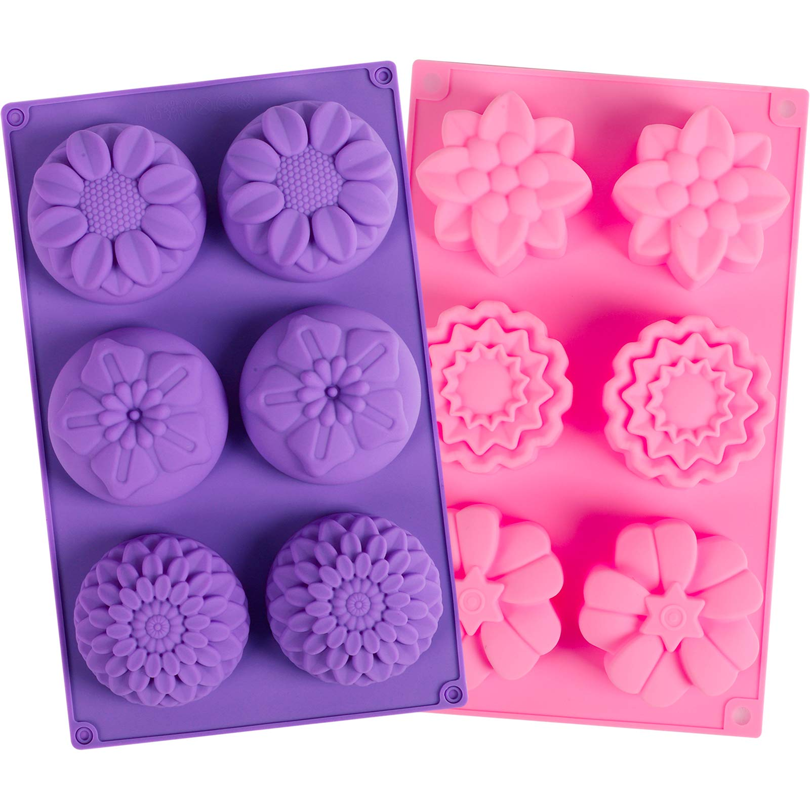 YGEOMER 2 PCS 6 Cavity Assorted Silicone Flower Soap Mold DIY Soap Mold Handmade Chocolate Biscuit Cake Muffine Silicone Mold