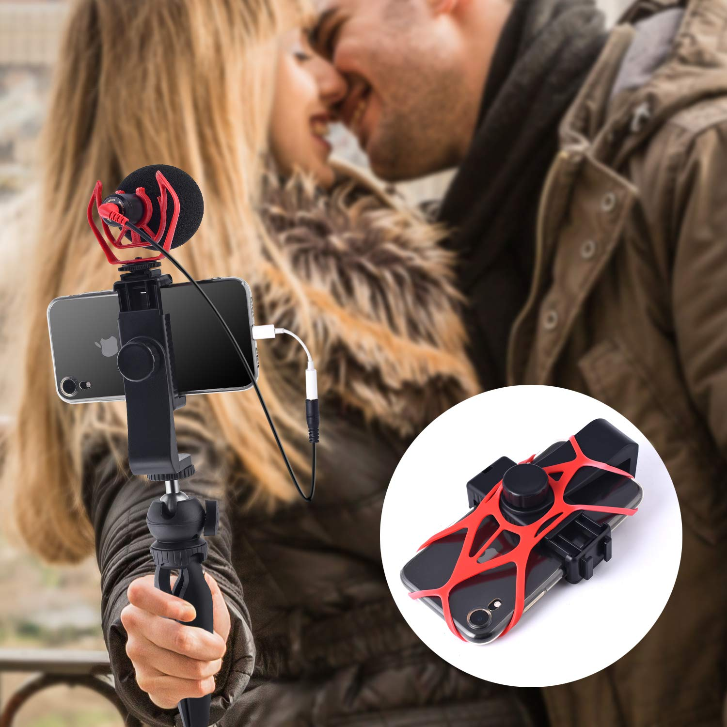 YouTube 8 Smartphone Video Microphone with Mini Tripod Videomicro and Shotgun Microphone for iPhone 5S Perfect Vlog X 6S 6 iPhone Camera Video Kit 7 Asmr Mic XR XS Max Samsung Google