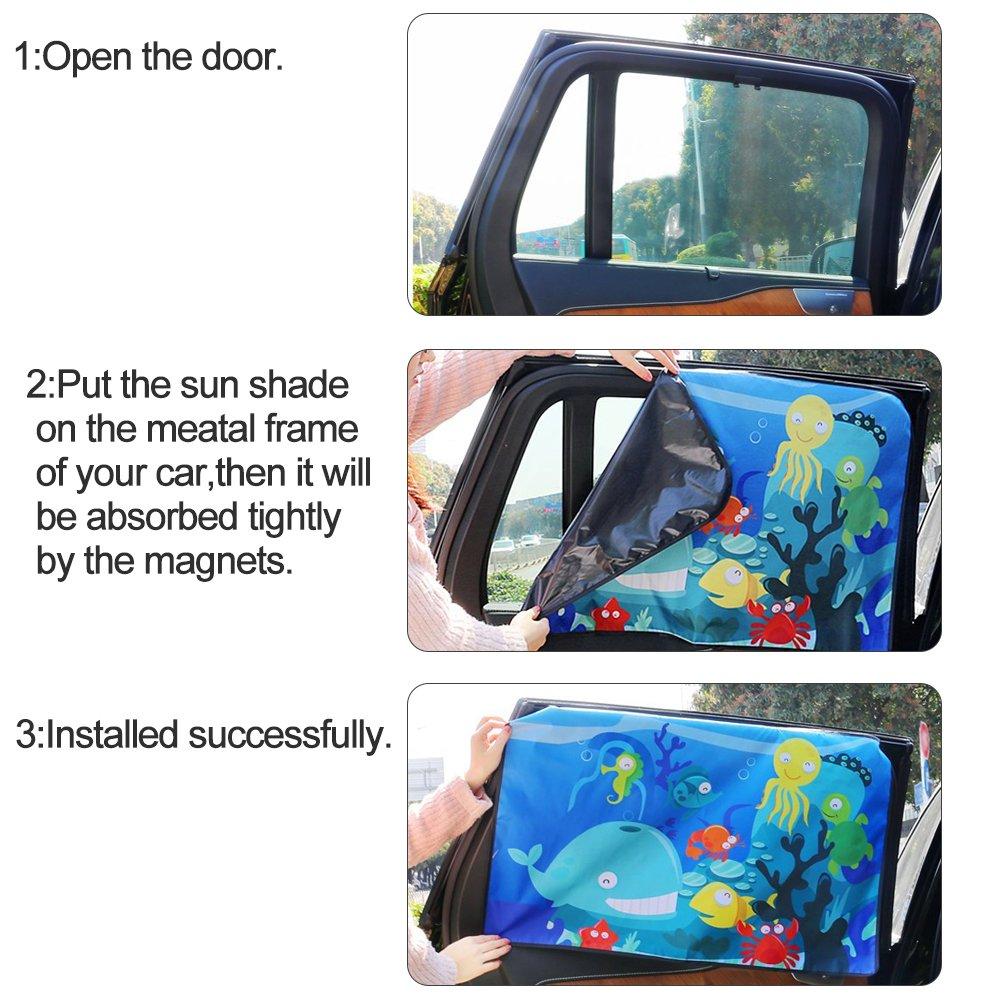 pare-soleil pour vitres de voiture Installer Rapide Pare Soleil Voiture B/éb/é,2PCS Enfant Fen/êtres de Voiture Auto Parasol Universel Anti Rayons UV Pour Enfants et Animaux de Compagnie