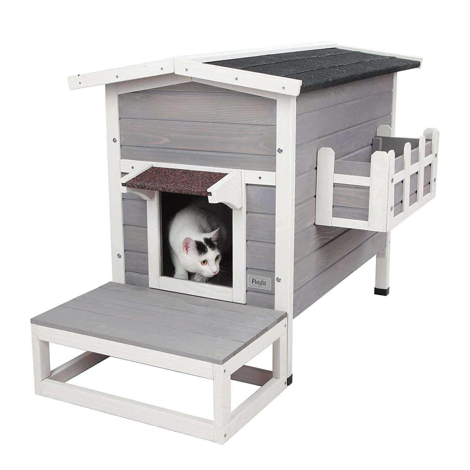 "Petsfit Weatherproof Outdoor Cat Shelter/House/Condo with Stair 27.5"" Lx17.5 Wx20 H"