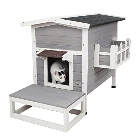 Petsfit Weatherproof Outdoor Cat Shelter/House/Condo With Stair  27.5u0026quot;Lx17.5u0026quot