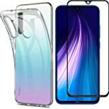 MYLBOO Compatible with for Xiaomi Redmi Note 8 Case Redmi Note 8 Screen Protector, [3 in 1] Transparent Soft TPU Case + [2 pc] 9H Tempered Glass for Redmi Note 8