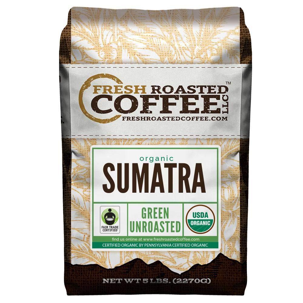 Fresh Roasted Coffee LLC, Green Unroasted Sumatra Coffee Beans, Fair Trade, USDA Organic, 5 Pound Bag by FRESH ROASTED COFFEE LLC FRESHROASTEDCOFFEE.COM