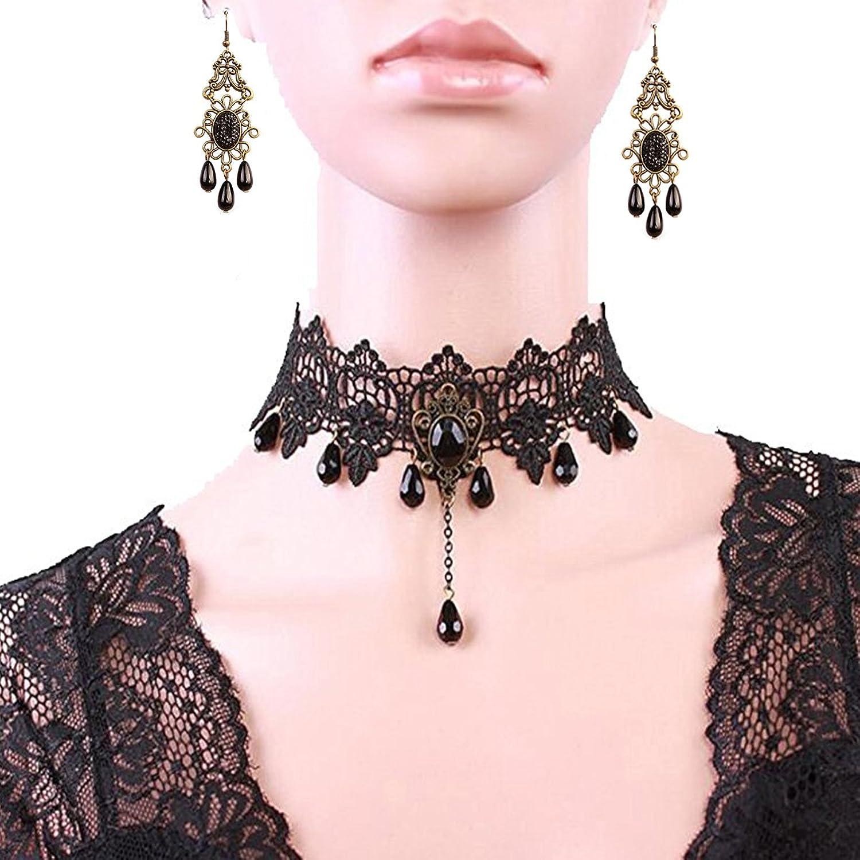 Black Lace Punk Gothic Wedding Party Choker Beads Chain Pendant ...