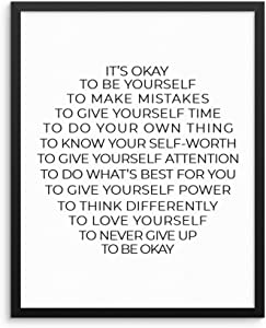 "Inspirational Quote Home Decor Wall Art Print Poster -It's Okay Be Yourself To Make Mistakes To Love UNFRAMED Motivational Artwork for Living Room Bedroom Office Teen Boy Girl Room (11""x14"" IT'S OKAY)"