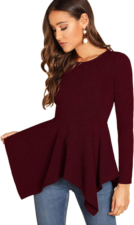 Milumia Women's Elegant Round Neck Long Sleeve Pullovers Asymmetrical Hem Peplum Tops