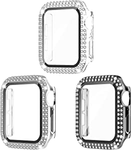 Recoppa 3 Pack Compatible for Apple Watch Case 42mm with Screen Protector, Bling Cover Double Diamonds Rhinestone Bumper Protective Frame for iWatch Series 3/2/1 Girl Women 42mm
