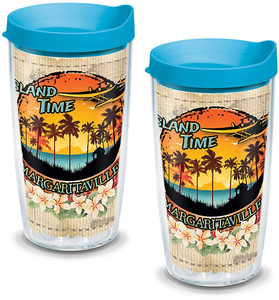 Boxed 24oz Clear Tervis 1132865 Margaritaville Island Time Insulated Tumbler with Wrap and Turquoise Lid 2 Pack