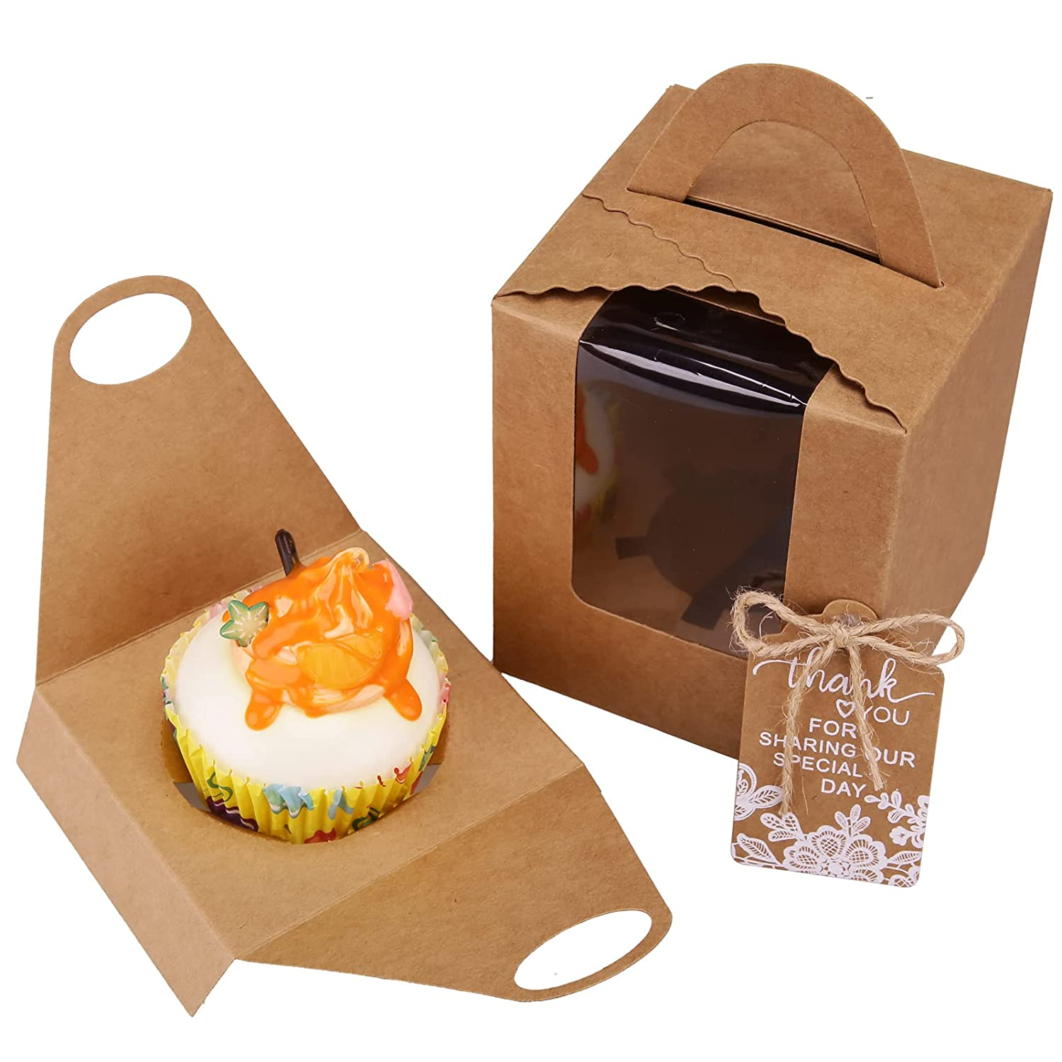 Wocuz Brown Kraft Cupcake Boxes,60 Pack Indivdual Cupcake Carrier Boxes with Window Insert for Bakery Wrapping Parties Wedding Candy Boxes