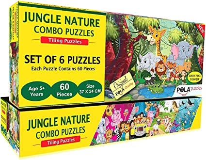 Pola Puzzles - Jungle Nature - Puzzle - Combo 6-in-1 - Gift Pack - 60- Pieces each Tiling Puzzles (Jigsaw Puzzles - Puzzles for Kids - Floor Puzzles) - Puzzles - for Kids Age-5-Years and Above. Size: 37 CM X 24 CM