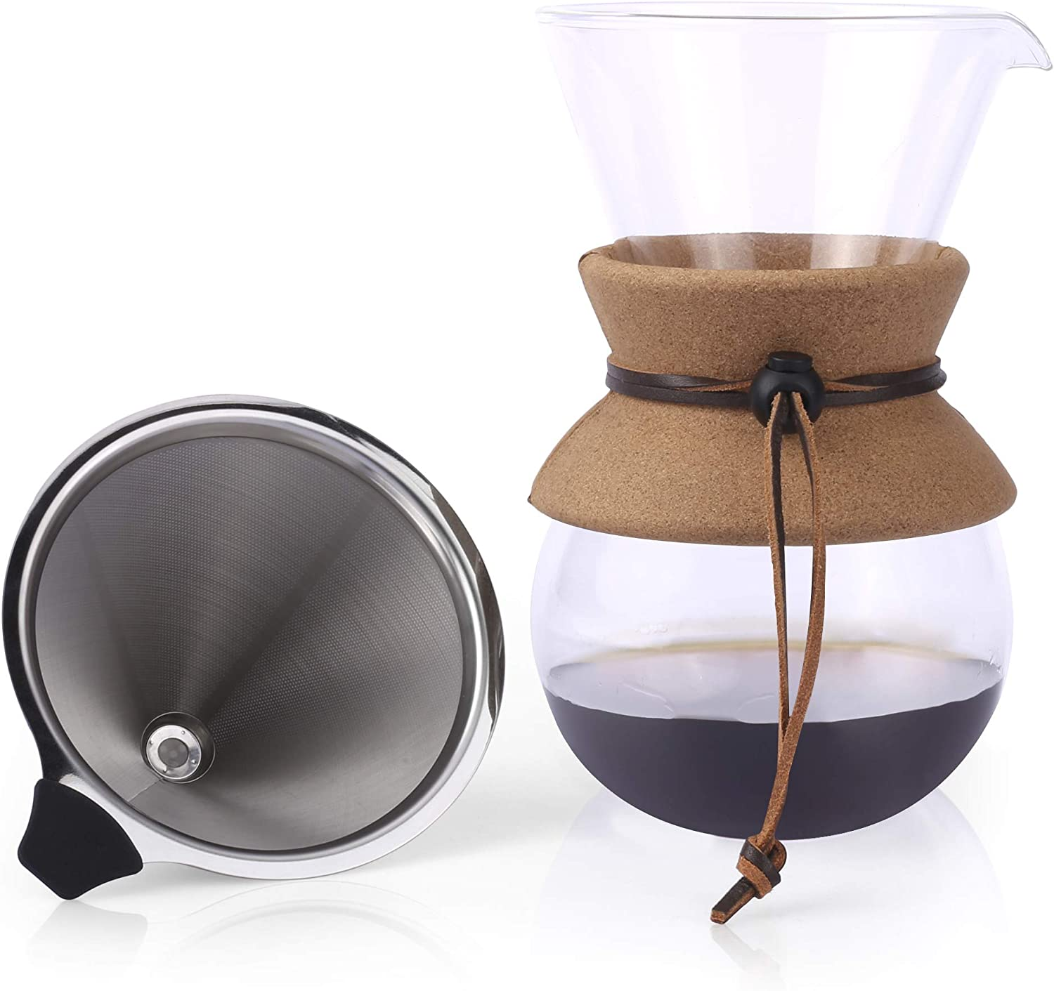 Apace Living Pour Over Coffee Maker – 2019 Edition – Elegant Coffee Dripper Brewer Pot w Glass Carafe Permanent Stainless Steel Filter 27 oz