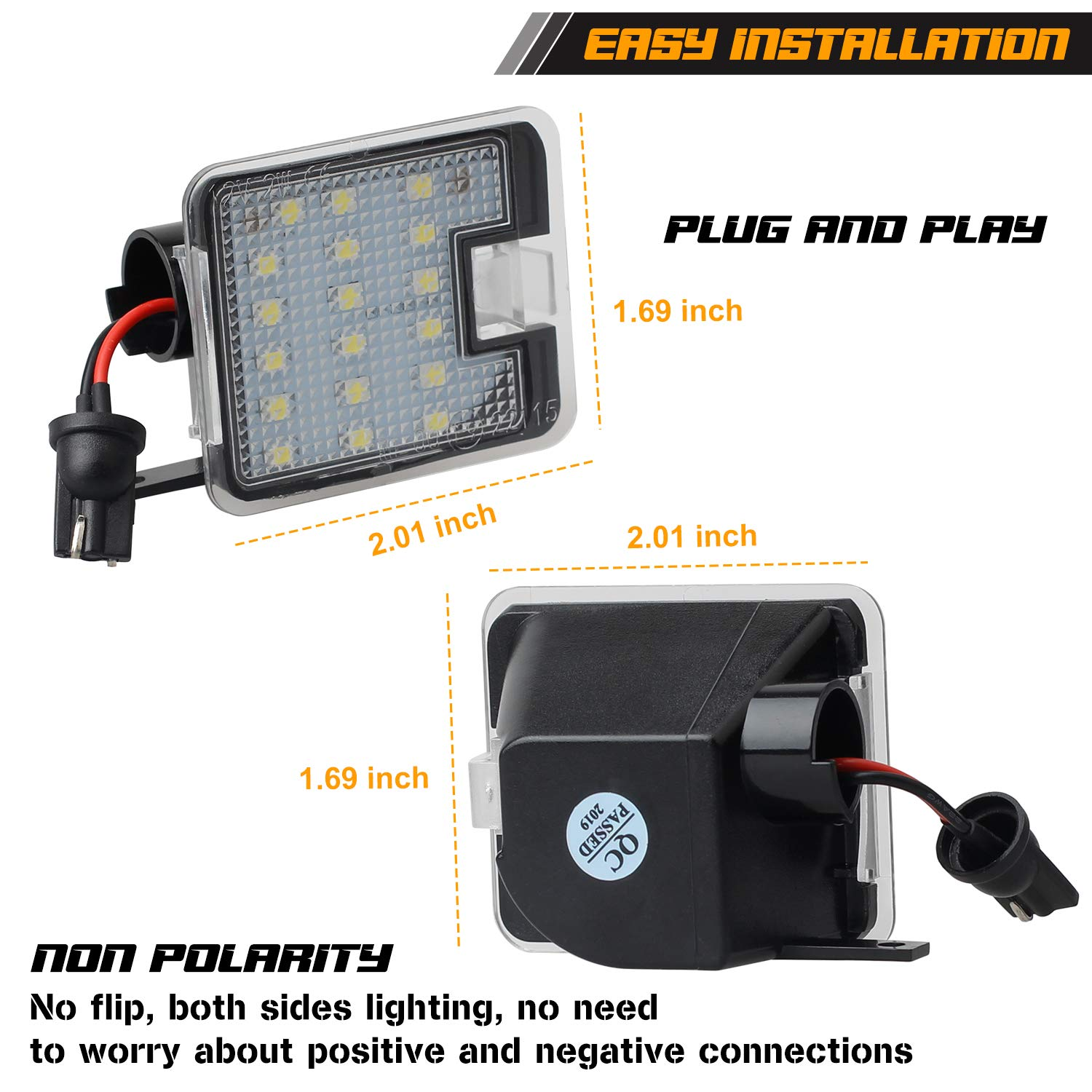 Pack of 2 RUXIFEY LED Side Mirror Puddle Lights Compatible with Ford Focus Mondeo IV C-max Kuga Escape S-Max White
