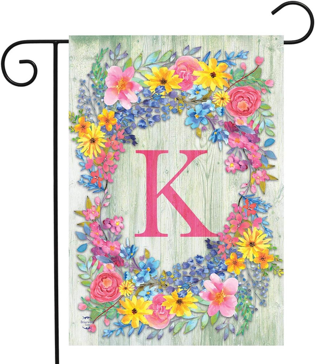 "Briarwood Lane Spring Monogram Letter K Garden Flag Floral Wreath 12.5"" x 18"""