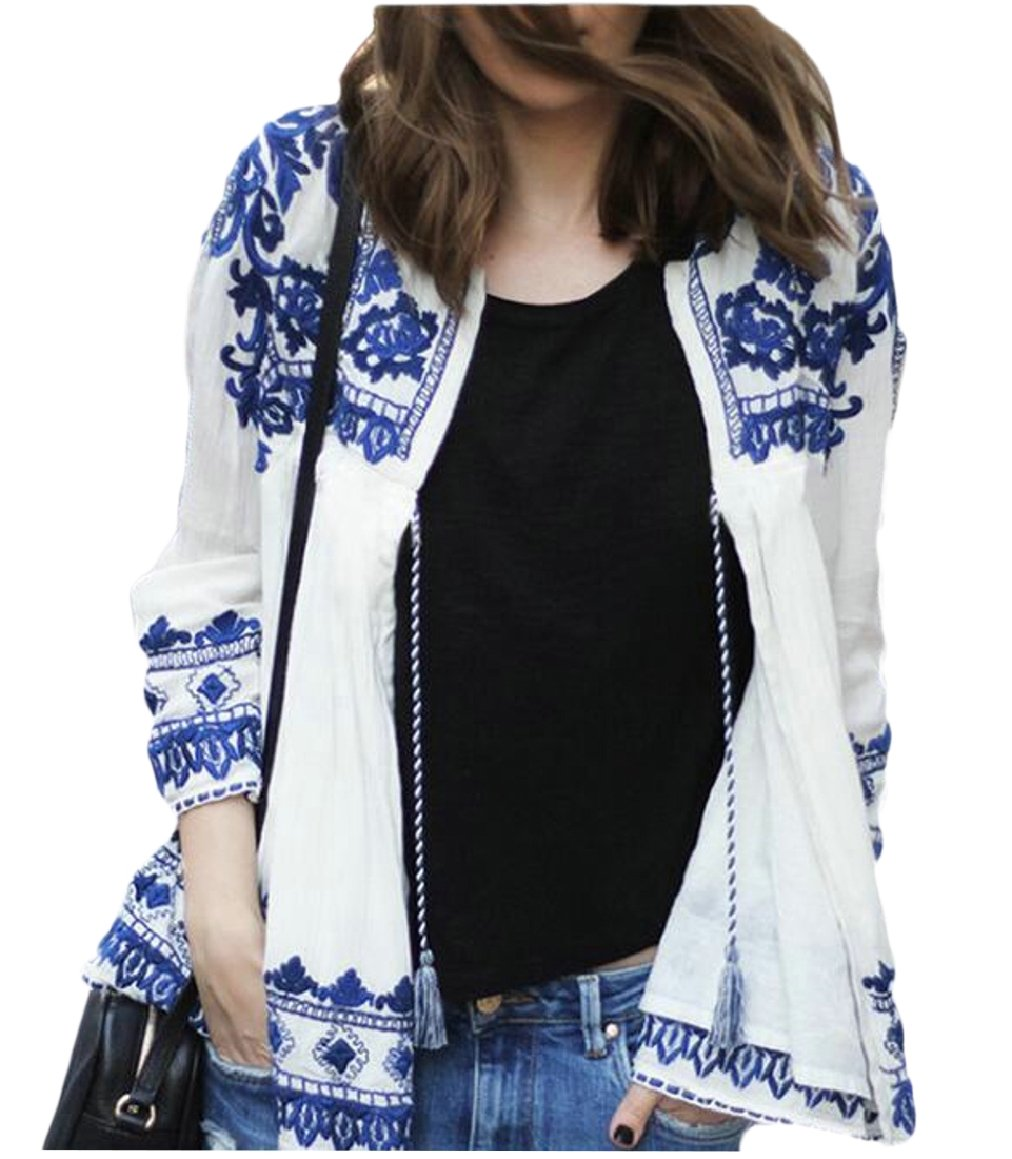 Smeiling Digital Print Long-Sleeve Cardigan Womens Summer Digital Print Chiffon Shirt