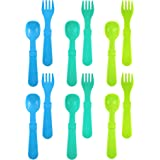 Re-Play Made In USA 12pk Utensils for Easy Baby, Toddler, Child Feeding - Sky Blue, Aqua, Green (Under the Sea)
