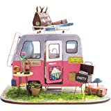 Rolife Mini DIY House Kit-Woodcraft Construction Kit-Wooden Model Building Set-Mini House Crafts-Creative Birthday for Boys Girls Adults and Friends(Camper)
