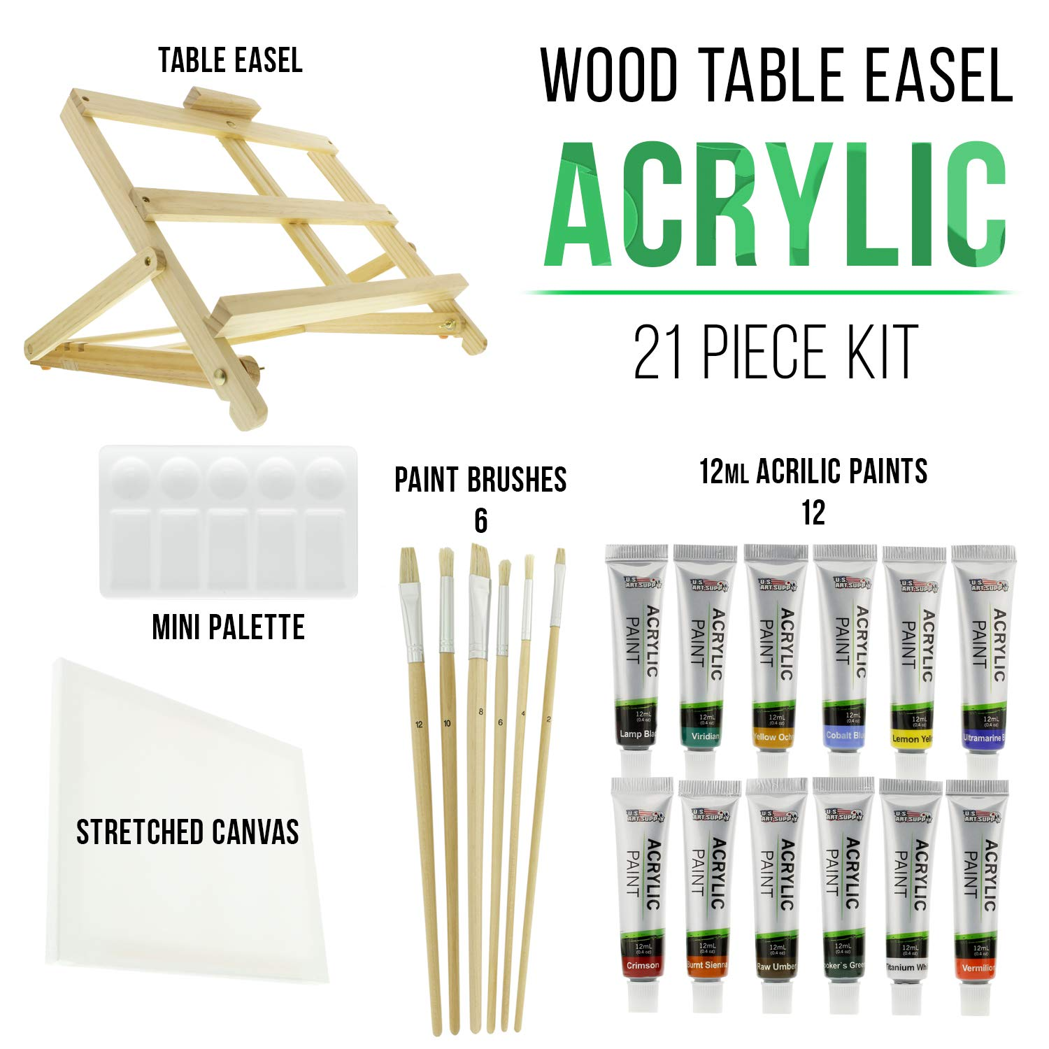 US Art Supply 21-Piece Acrylic Painting Table Easel Set with, 12-Tubes Acrylic Painting Colors, 11''x14'' Stretched Canvas, 6 Artist Brushes, Plastic Palette with 10 Wells by US Art Supply (Image #1)