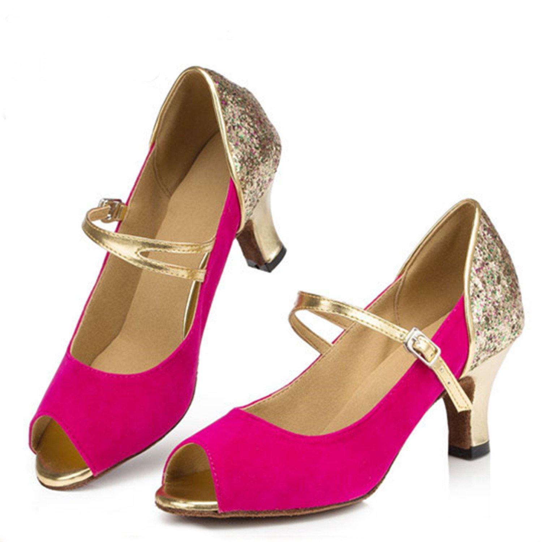 YFF Geschenke Frauen Dance schuhe Ballroom Latin Dance Tango Tango Tango Tanz schuhe 7.5cm Rosa rot 42 3cba7e