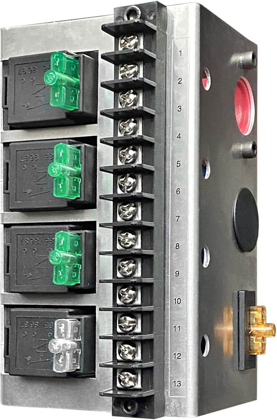 8 Relay MGI SpeedWare Relay Panel Box and Wiring Block Kit with 12 Volt DC Automotive Relay Switches and LED Blade Fuses