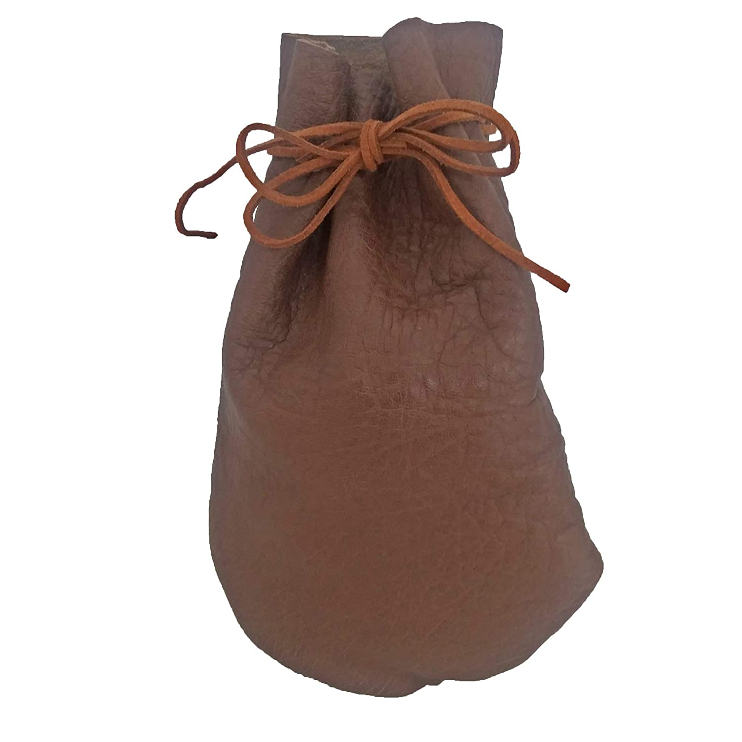 Pouch Drawstring Leather 5 X 7.5 Inches, Grain Pattern Brown