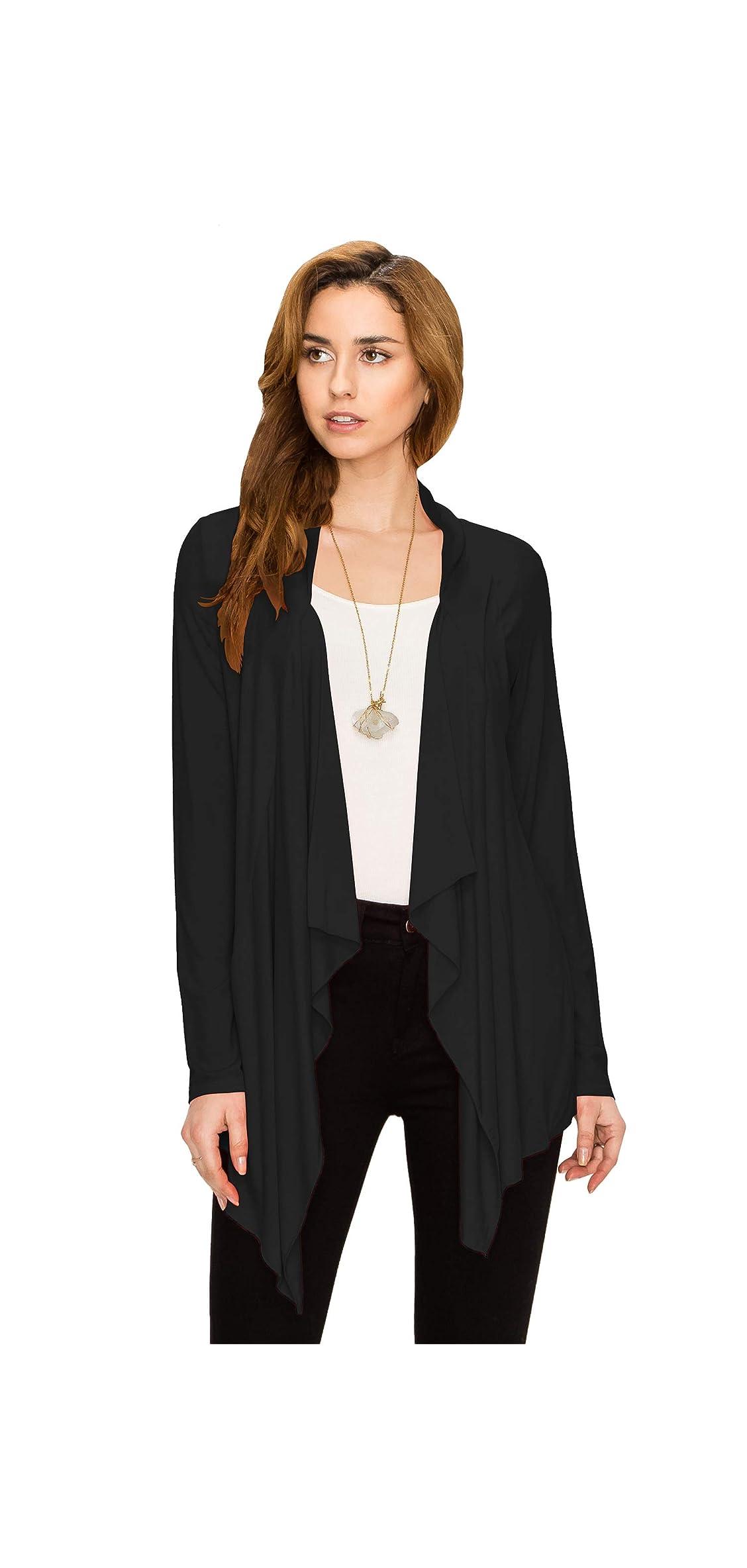 Women's Drape Front Open Cardigan Long Sleeve Hem