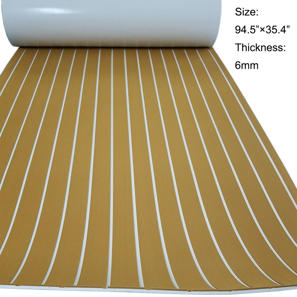 Faux Teak Decking Sheet EVA Synthetic Teak Deck For Boat Gold With White Stripes 94.5''x35.4'' by yuanjiasheng