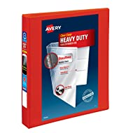 "Avery Heavy-Duty View Binder, 1"" One Touch Rings, 275-Sheet Capacity, DuraHinge, Red, 79170"