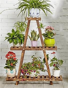ZENGAI Étagère en bois massif à 3 niveaux, étagère pour plantes ...
