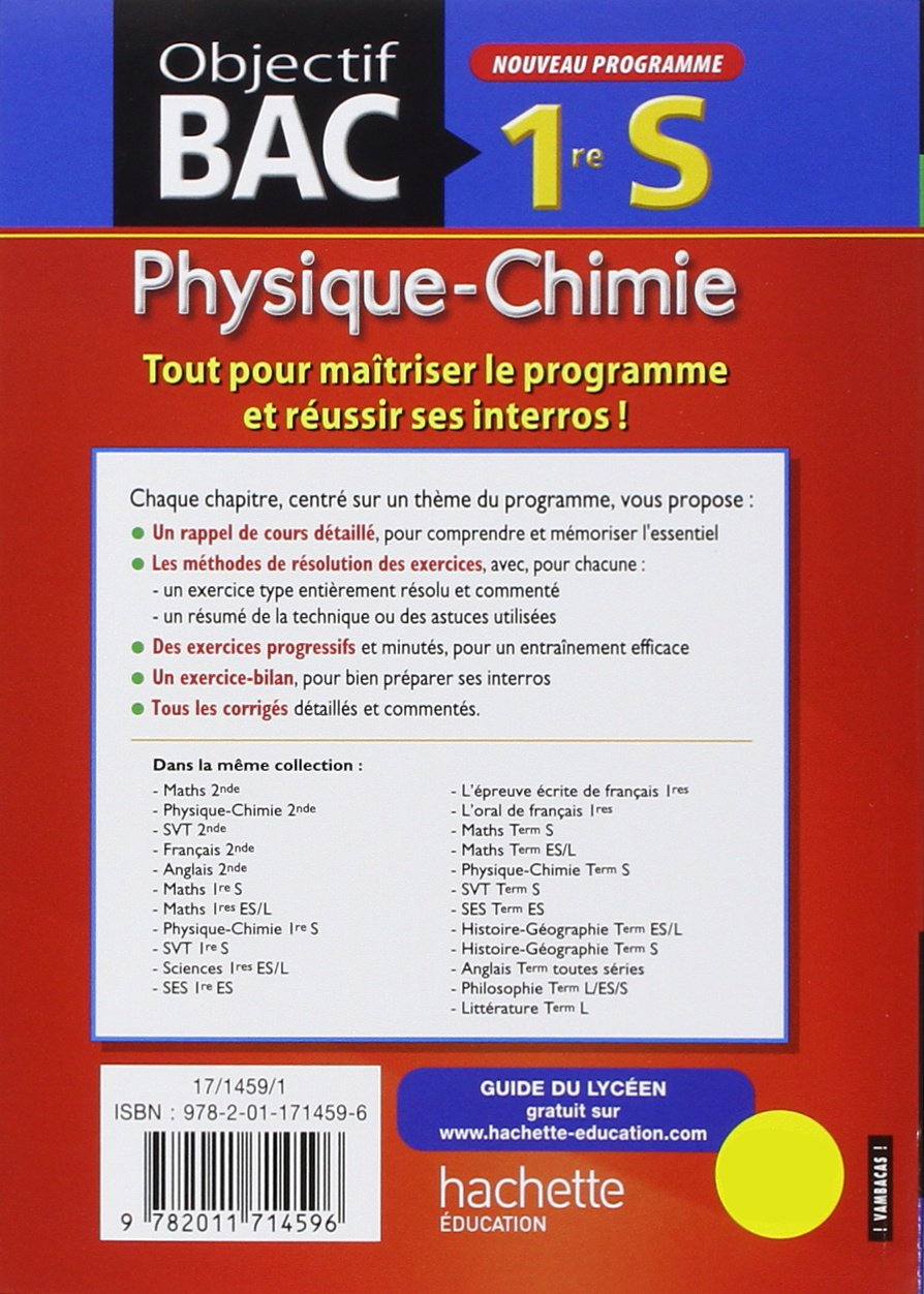physique chimie 1re s amazoncouk didier albrand michel barde nathalie barde anne laure ramon 9782011714596 books - Resume Cours Science Bac Math