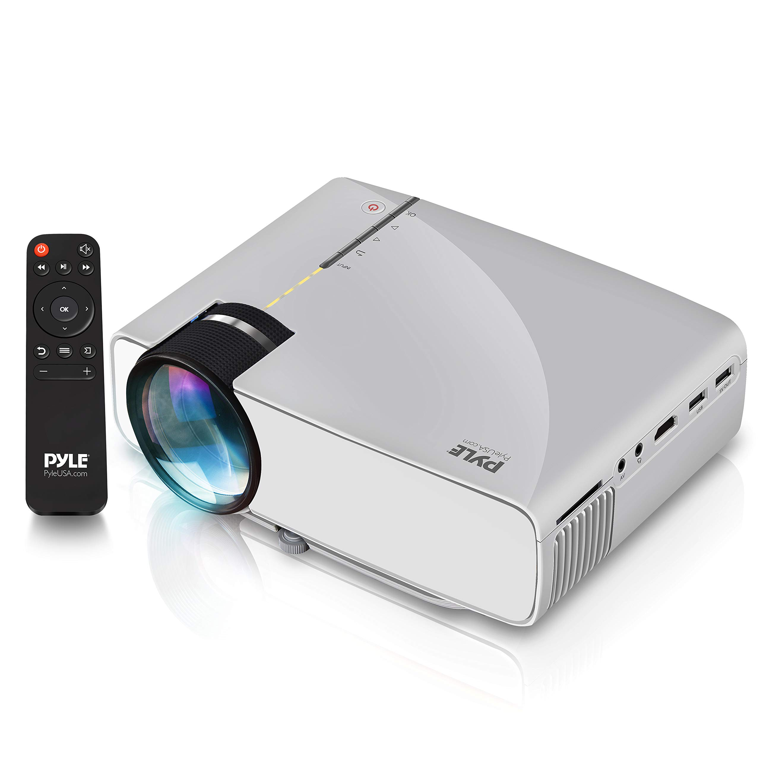 "Portable Multimedia Home Theater Projector - Compact HD 1080p High Lumen LED w/USB, HDMI, 50"" to 130"" Inch Adjustable Screen in Your Mac or PC, Built-in Stereo Speaker and Remote Control - Pyle"