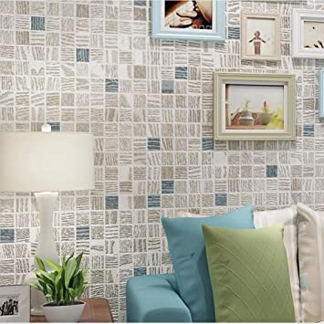 Non Woven Tapete Modern Minimalistic 3D Mosaik Wohnzimmer Schlafzimmer TV  Hintergrundbild, Light Yellow