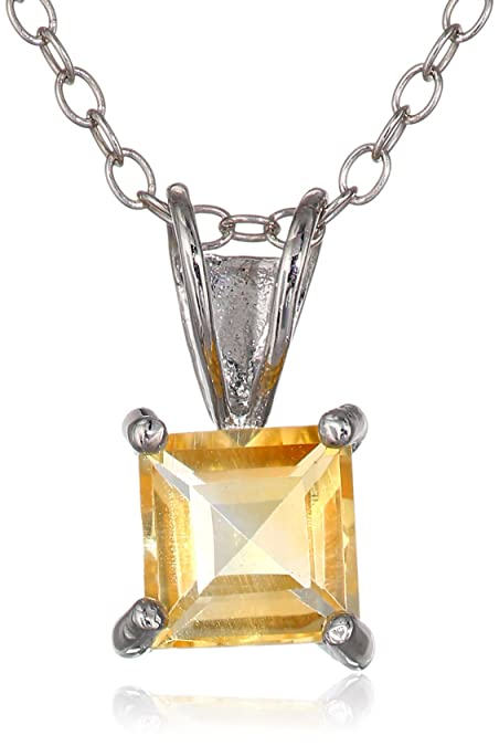 Amazoncom Sterling Silver 6mm Square Cut Citrine Pendant Necklace