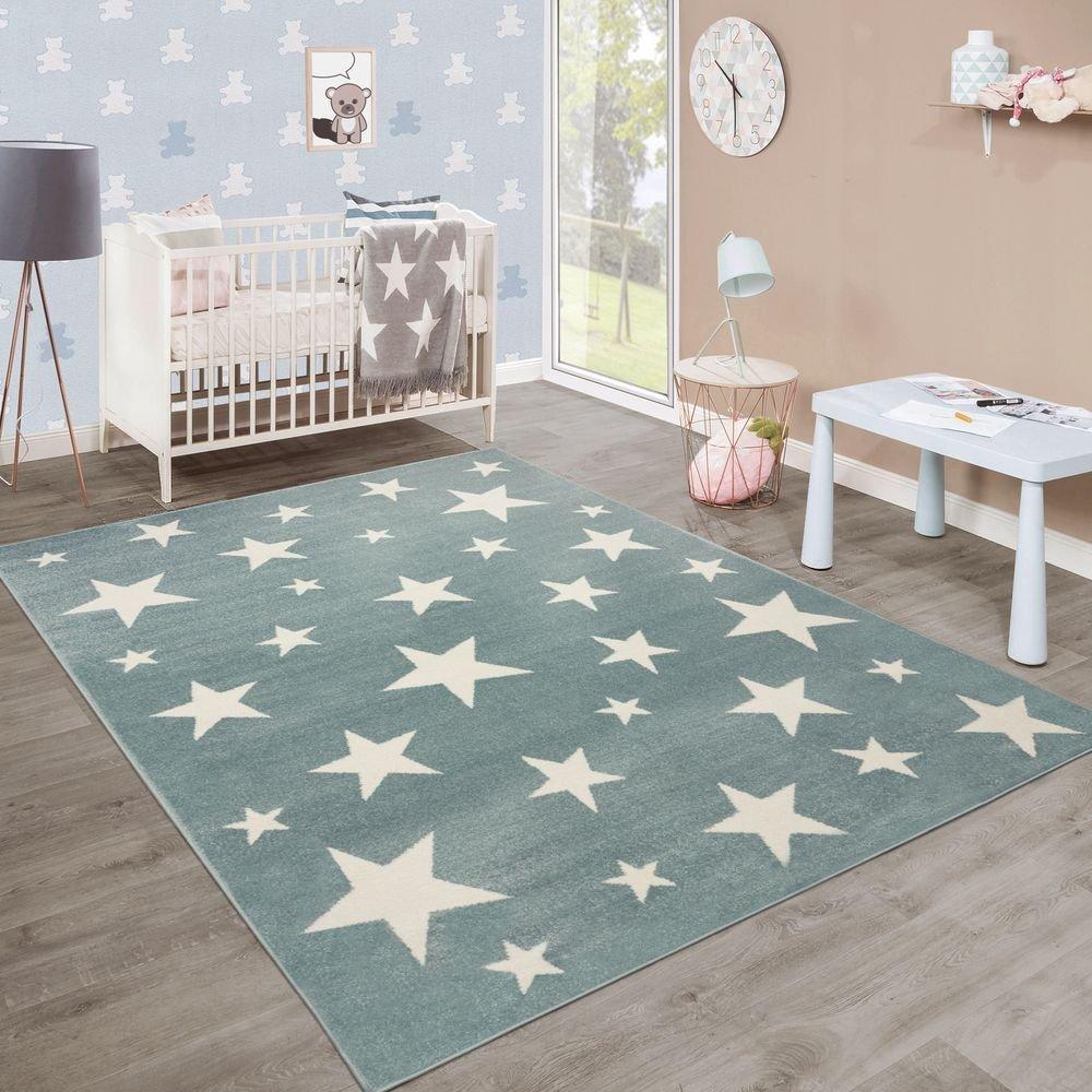 Paco Home Moderner Kurzflor Kinderteppich Sternendesign Kinderzimmer Pastell Türkis Weiß, Grösse:160x220 cm