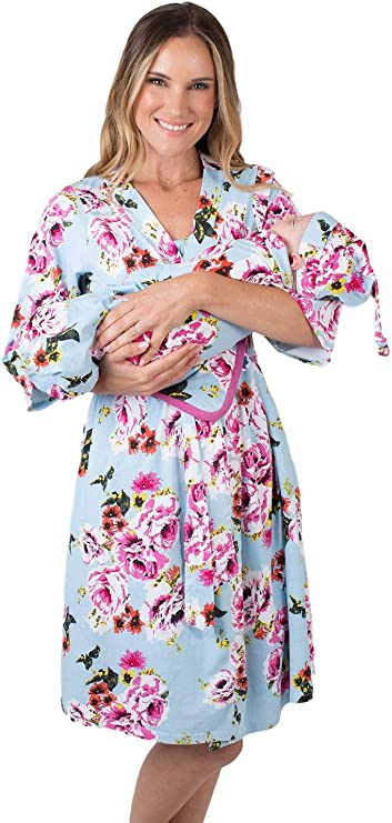 Baby Girl Swaddle Blanket and Newborn Hat Set By Baby Be Mine Mommy and Me Sophie Floral 3 in 1 LABOR Delivery Gown+Matching Delivery ROBE
