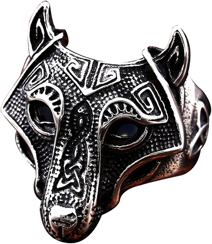 BAVAHA Stainless Steel Norse Viking Nordic Wolf Animal Thor Hammer Man Rings Fashion Punk Rock Black Wolf Skull Head Ring Size 7-13 Punk Biker Men Jewelry