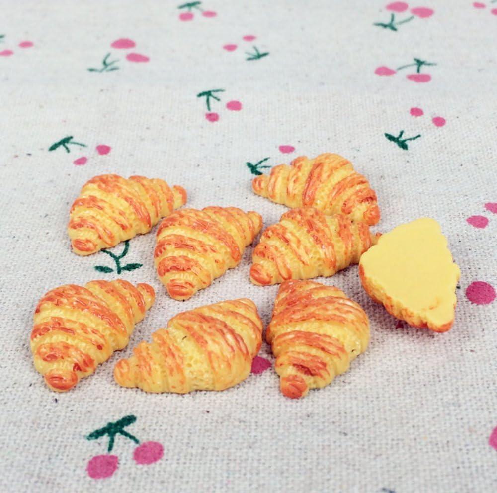 10pcs Croissant Bread Fake Food Miniature Fake Food Dessert Flat Back Cabochons Decoden Flatback DP129