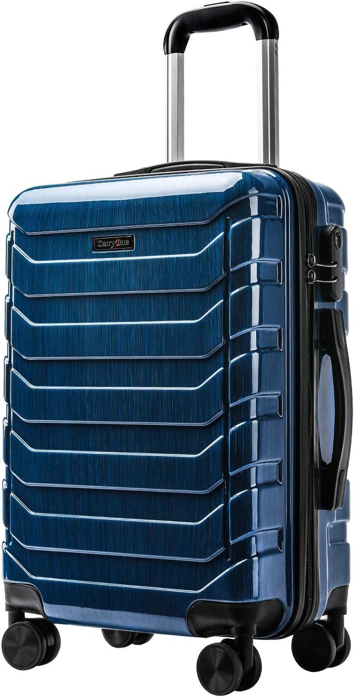 CarryOne Maleta Superligera con 4 Ruedas Duales Giratorias | Contraseña Cerradura Equipaje para Viajar-TD5-Azul