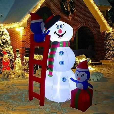 Amazon.com: Muñeco de nieve inflable de 6 pies de altura con ...