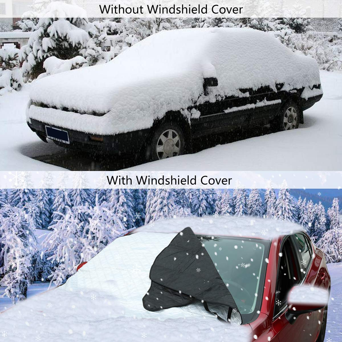 Amazon.com: GAMURRY Car Windshield Snow Cover[58 x 46 inch], Windshield Cover for Ice and Snow[Build in Strong Magnet], Car Front Windscreen Ice Frost Guard ...