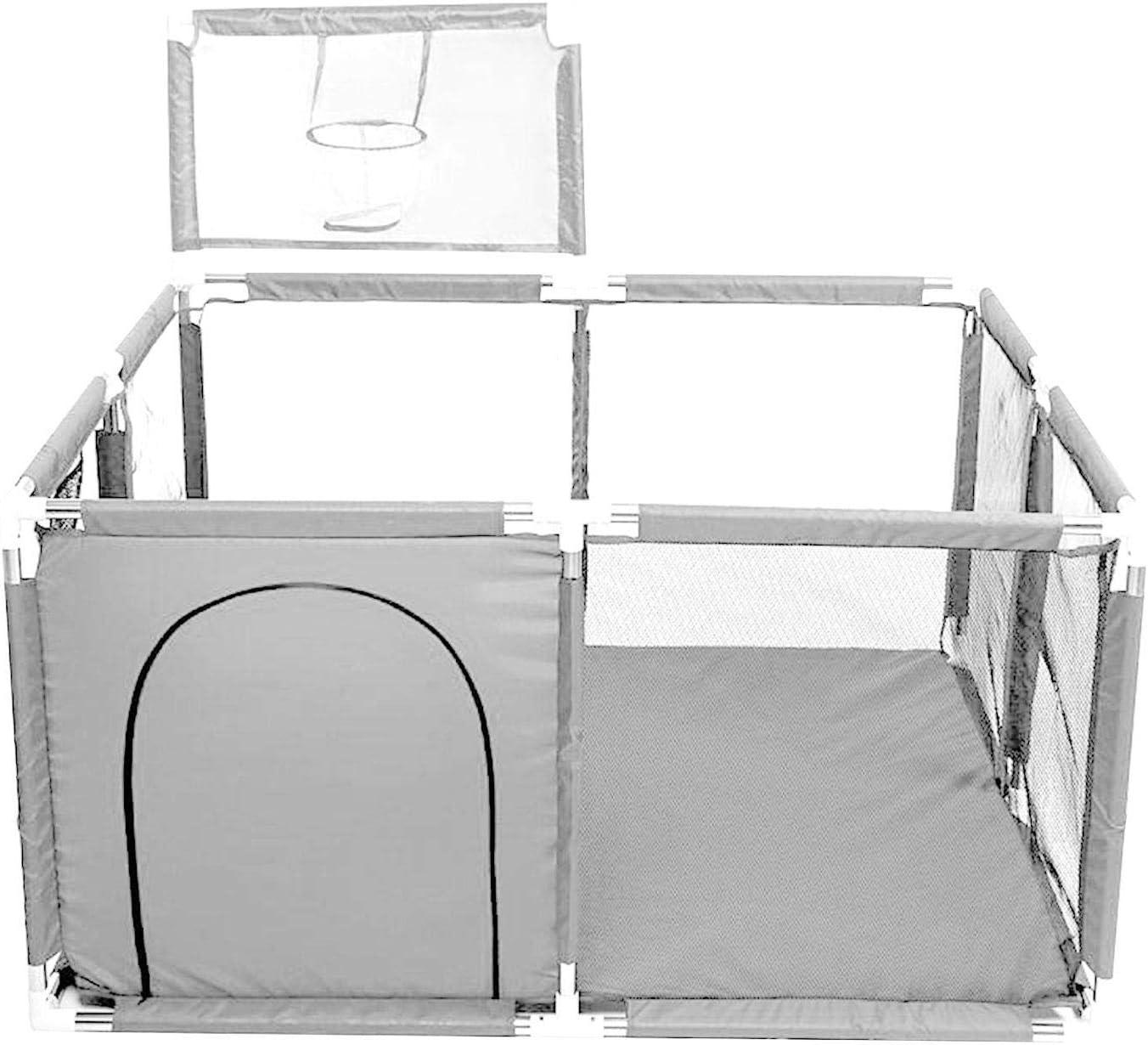 A/A Parque infantil de malla con canasta de baloncesto, centro de actividades para niños en interiores y exteriores, rejilla de protección estable para niños (126 x 126 x 66 cm)