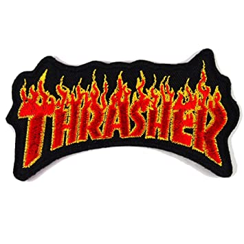 c75d602ac065 THRASHER FLAME FIRE SKATEBOARD MAGAZINE PATCHES WITH FREE GIFT   Amazon.co.uk  Kitchen   Home