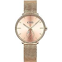 CIVO Womens Watches Ladies Black Rose Gold Ultra Thin Minimalist Waterproof Wrist Watch for Ladies Girls Luxury Fashion Dress Casual Woman Quartz Watch with Mesh Band