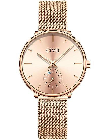 CIVO Relojes para Mujer Reloj Damas de Malla Impermeable Minimalista Elegante Banda de Acero Inoxidable Relojes de Pulsera Mujers Moda Vestir Casual ...