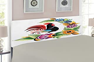 Lunarable Gallus Headboard for King Size Bed, Cock Poultry Livestock Ornate Abstract Spring Swirls in Vibrant Colors Illustration, Upholstered Decorative Metal Headboard with Memory Foam, Multicolor
