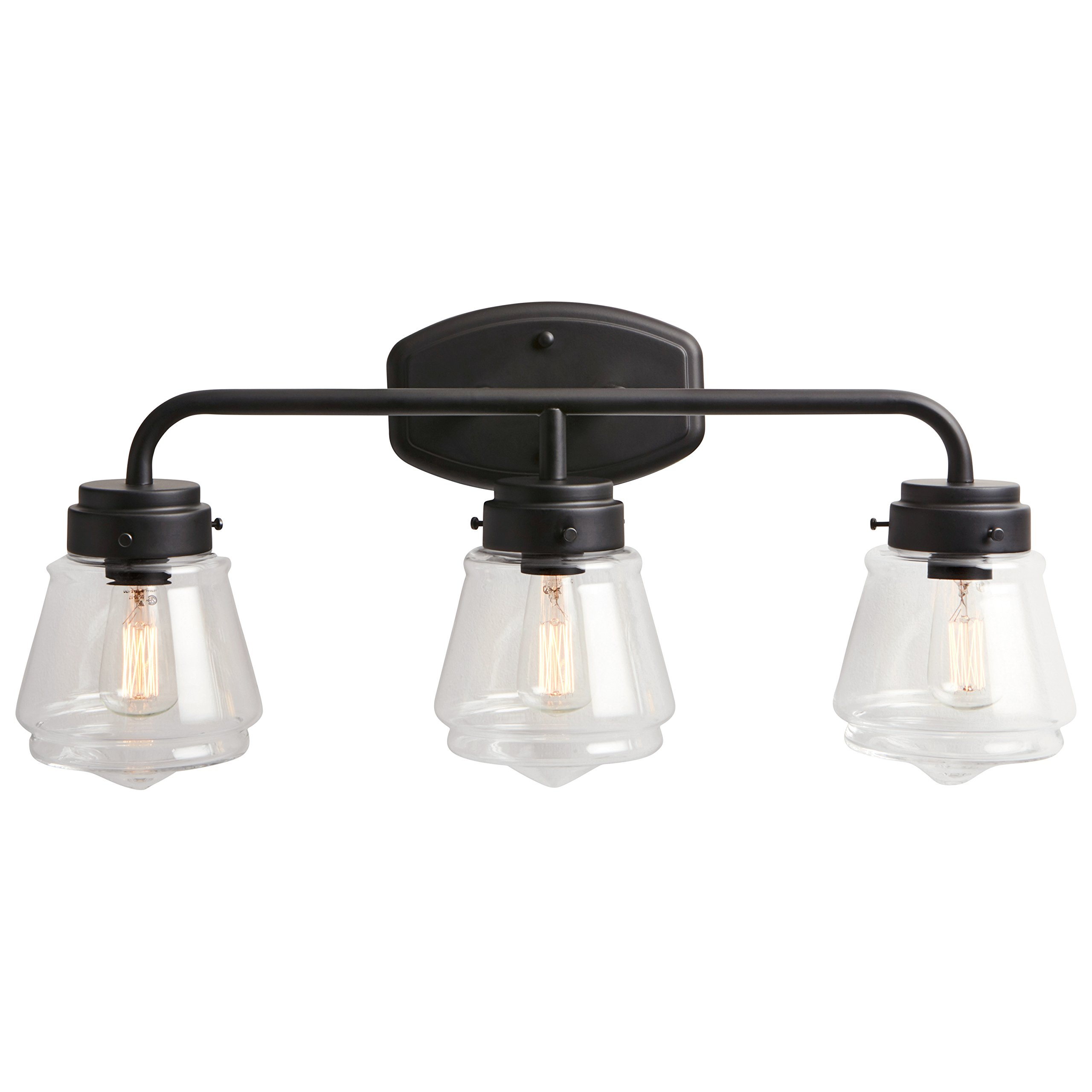 Stone & Beam Vintage 3-Light Vanity Fixture, 11.5''H, With Bulb, Matte Black with Glass Shade by Stone & Beam (Image #4)