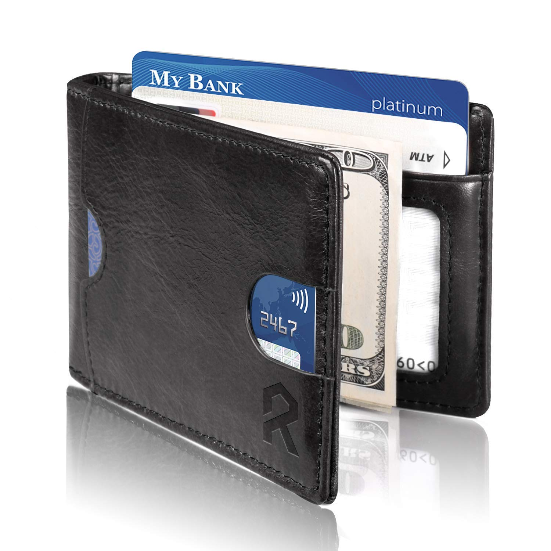 898d8329b76 REYLEO Bifold Wallets Front Pocket Minimalist Leather Slim Wallet RFID  Blocking Genuine Leather Wallets Card Case with Money Clip Black