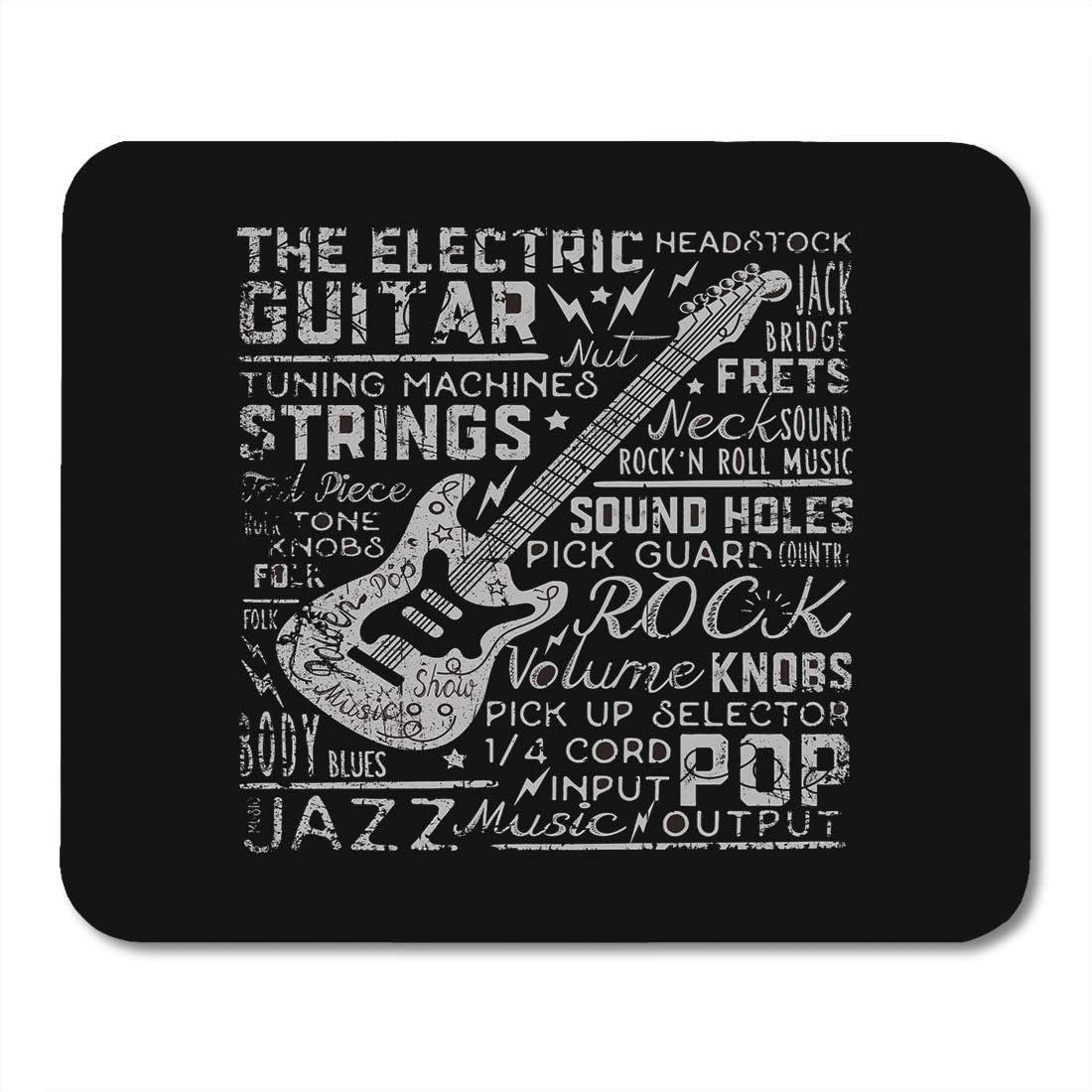 Alfombrillas de ratón Música Rock Vintage Guitarra tee Gráficos ...