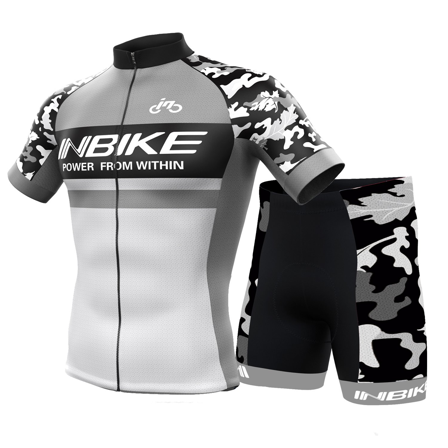 INBIKEメンズandレディース夏通気性Cycling Jersey and 3dシリコンパッド入りショーツOutfit B0732Z6SMN (US)S-(CN)L|グレー グレー (US)S-(CN)L
