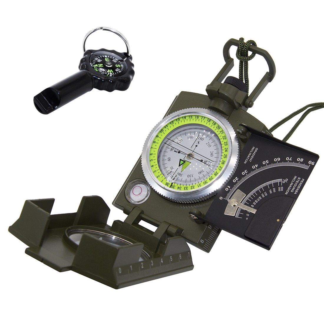 VOVCIG Professional Compass Metal Pocket Size Waterproof Shakeproof 50mm Dial Compass Multifunction Military Army Sighting Compass with Inclinometer for Camping Hiking Army Green