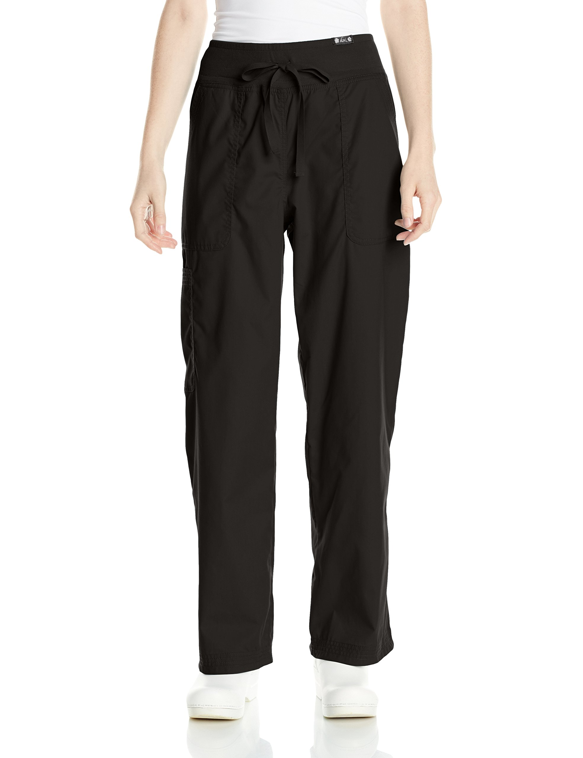 KOI Women's Petite Morgan Ultra Comfy Yoga-Style Cargo Scrub Pants, Black, Medium/Petite
